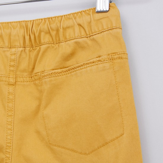 Pocket Detail Jog Pants with Button Closure and Drawstring