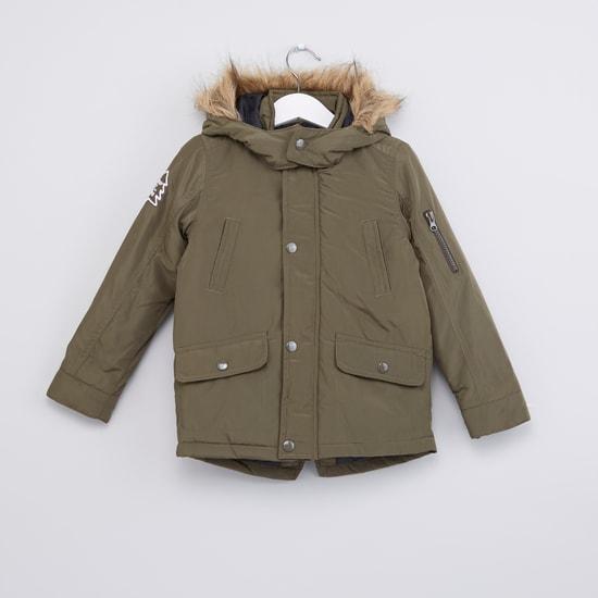 Plush Hood Long Sleeves Jacket