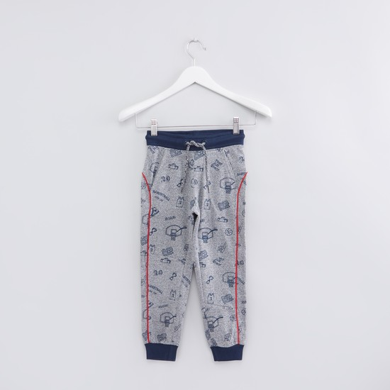 Printed Jog Pants with Elasticied Waistband and Drawstring