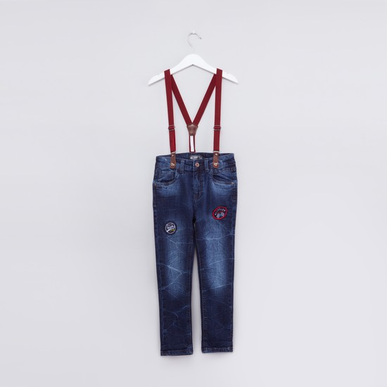 Embroidered Full Length Jeans with Button Closure and Suspenders