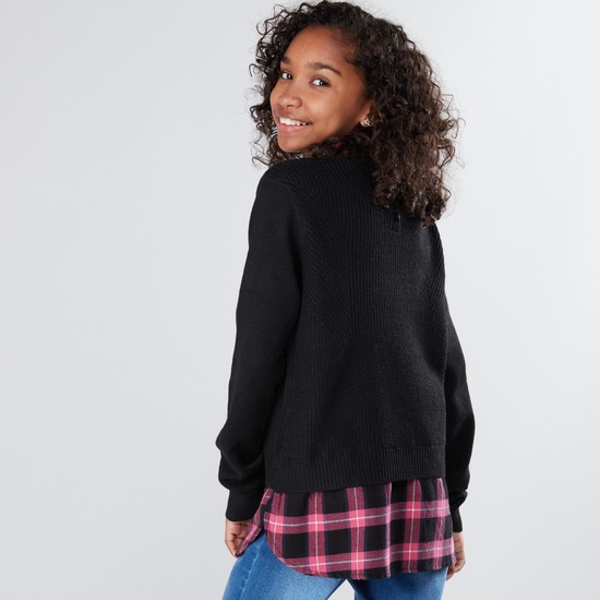 Embroidered Long Sleeves Mock Collar Sweater