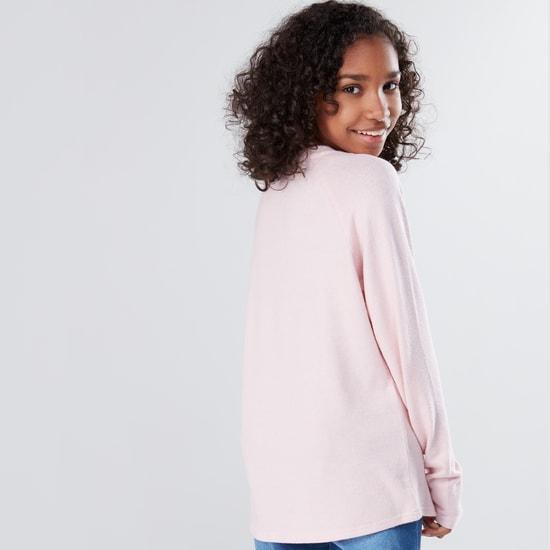 Embellished Round Neck Raglan Sleeves Sweater