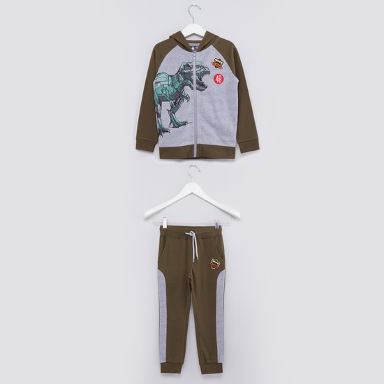 Printed Long Sleeves Jacket with Jog Pants