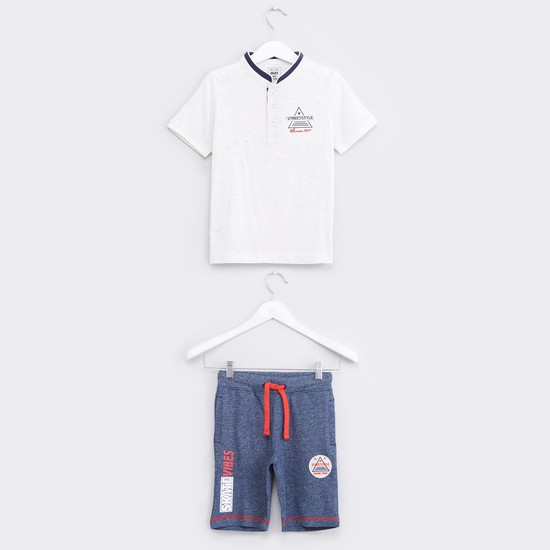 Henley Neck Short Sleeves T-Shirt with Shorts