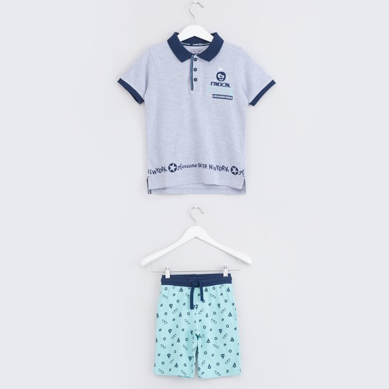 Printed Polo Neck T-Shirt with Shorts
