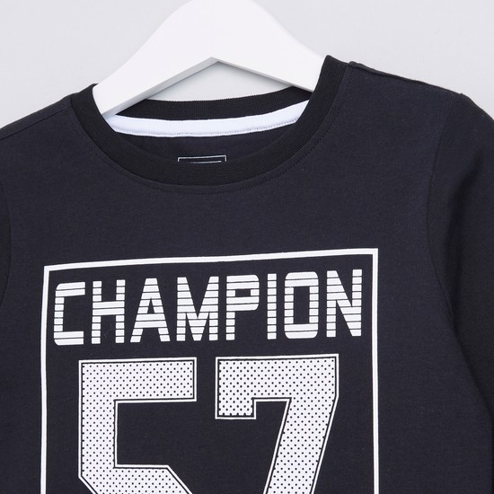 Graphic Printed Round Neck Long Sleeves T-Shirt