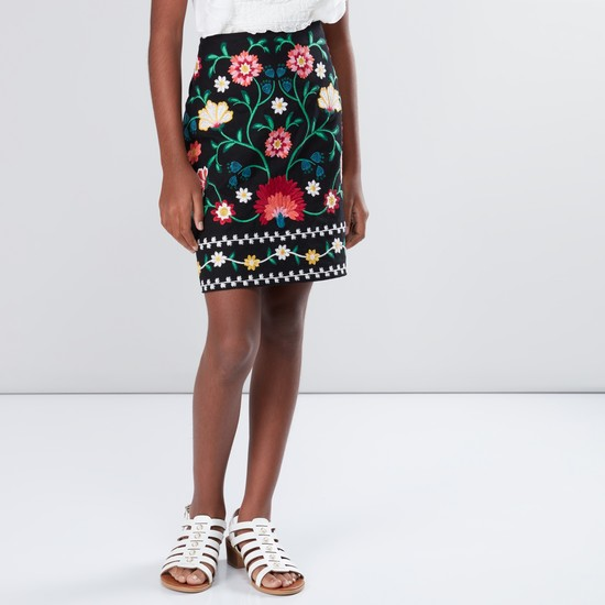 Embroidered Skirt with Zip Closure