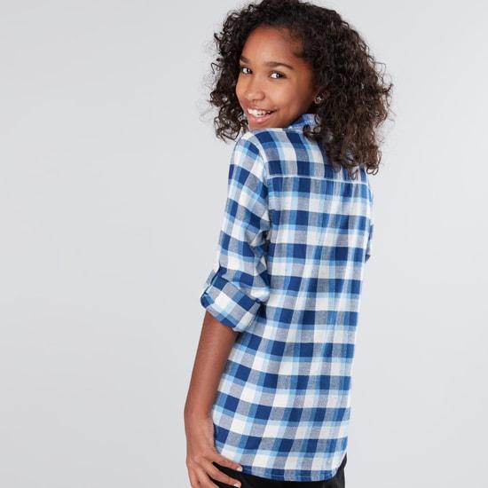 Chequered Long Sleeves Tie Up Hem Shirt