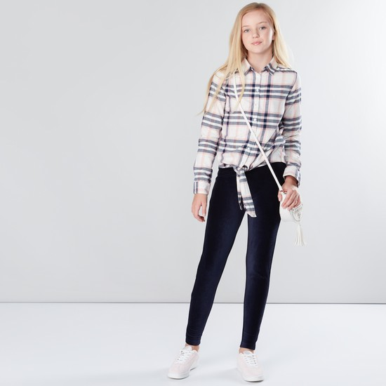 Chequered Short Sleeves Cropped Shirt