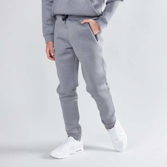 Textured Jog Pants with Zip Detail and Drawstring Waistband