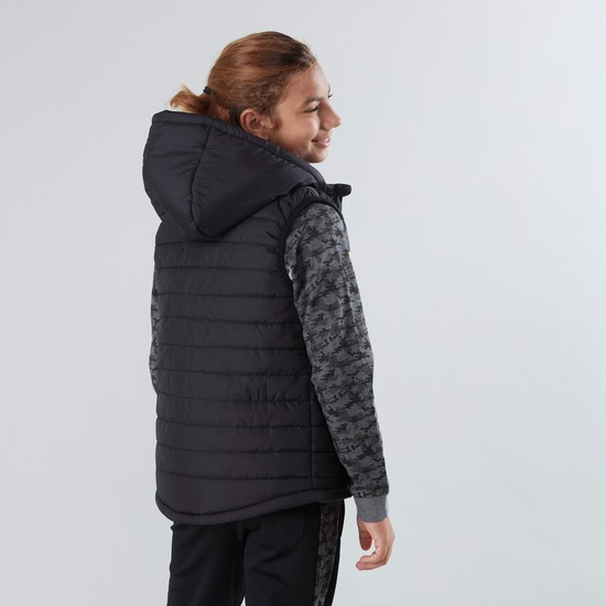 Sleeveless Hooded Puffer Jacket with Side Pockets