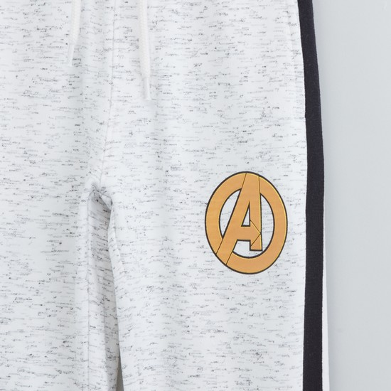 Textured Avengers Print Jog Pants with Contrast Side Taping