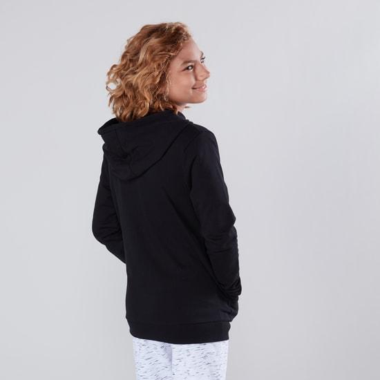 Printed Hoodie with Long Sleeves and Pocket Detail