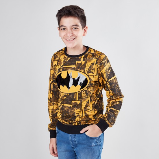 Batman Printed Round Neck Sweat Top with Long Sleeves