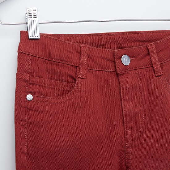 Full Length Textured Pants with 5-Pockets and Button Closure