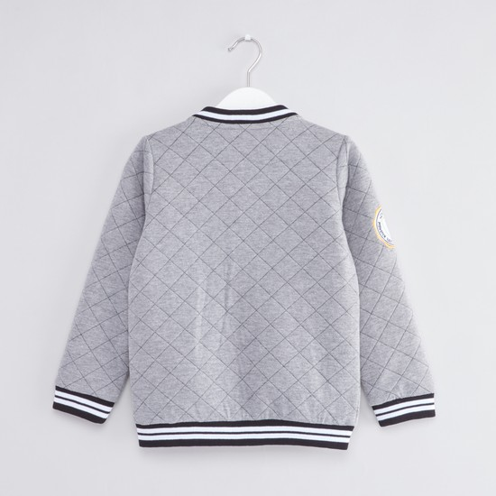 Quilted Bomber Jacket with Long Sleeves and Slant Pockets