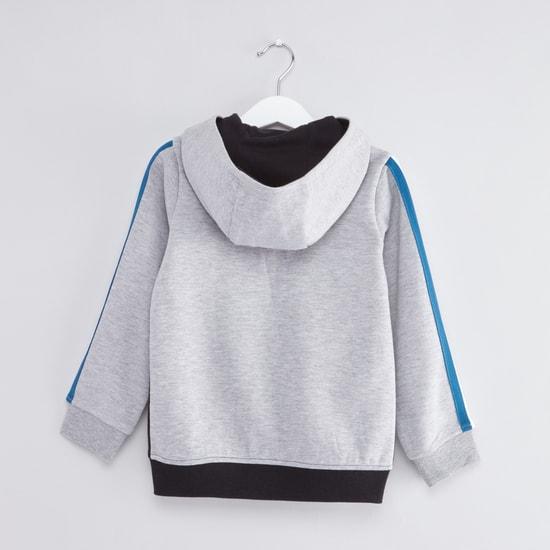 Panelled Long Sleeves Hoodie with Zip Closure