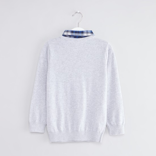 Textured Sweater with Mock Shirt and Long Sleeves