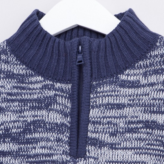Textured Sweater with Stripe Detail and Long Sleeves
