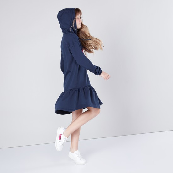 Reversible Sequin Embellished Hooded Dress with Long Sleeves