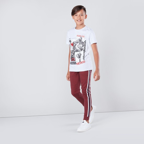 Full Length Stripe Detail Jog Pants with Drawstring