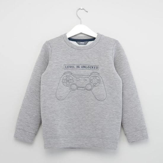 Heathered Round-Neck Sweatshirt with Long Sleeves