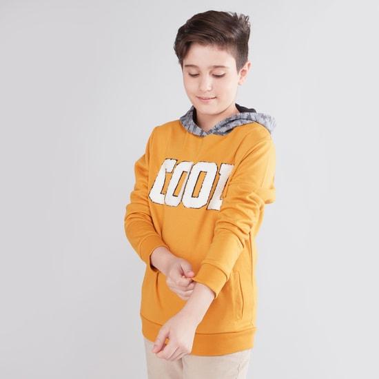 Textured Hooded Sweatshirt with Long Sleeves