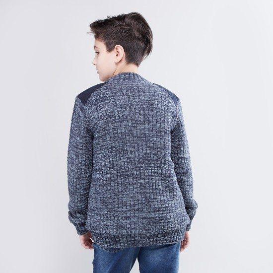 Textured Sweater with Long Sleeves and Shoulder Patch