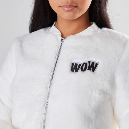 Plush Bomber Jacket with Long Sleeves and Zip Closure