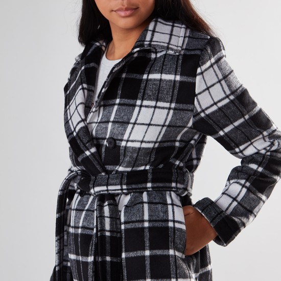 Checked Lapel Collared Coat with Front Belt