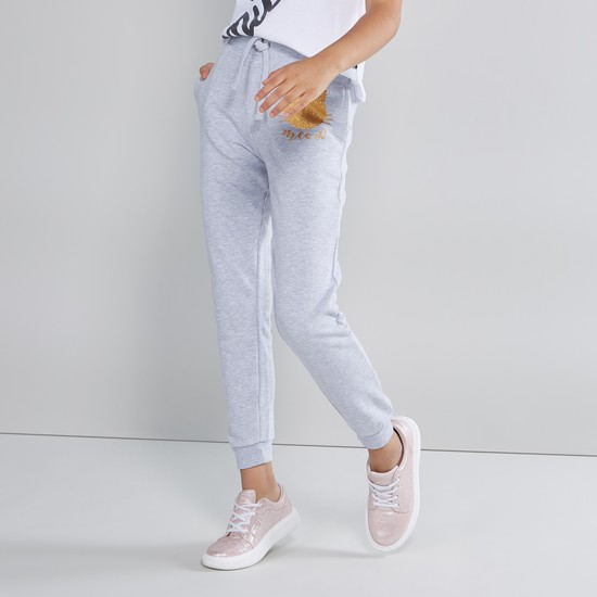 Glitter Printed Jog Pants with Drawstring and Pocket Detail