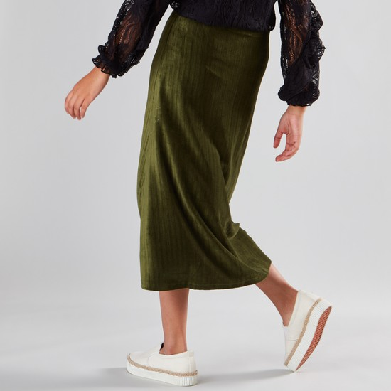 Stripe Patterned Midi Skirt
