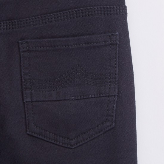 Solid Full Length Pants with Pocket Detail and Drawstring Closure