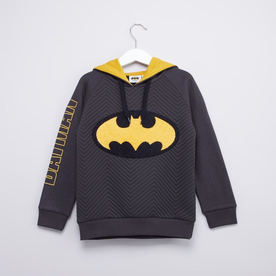 Batman Printed Hooded Sweatshirt with Long Sleeves
