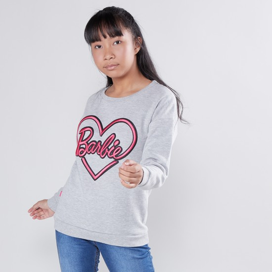 Barbie Embroidered Sweat Top with Round Neck and Long Sleeves