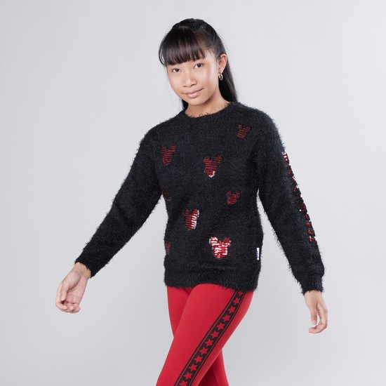 Mickey Mouse Sequin Detail Sweater with Long Sleeves