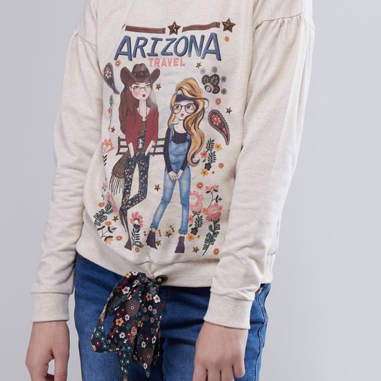 Printed Sweatshirt with Long Sleeves and Tie Ups