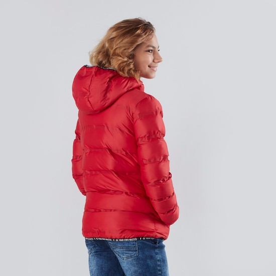Hooded Puffa Jacket with Long Sleeves and Zip Closure