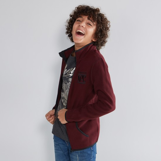 Embroidered Jacket with Zipper and Long Sleeves