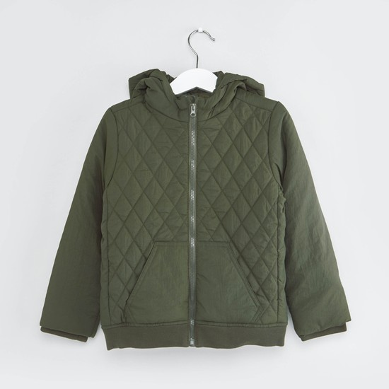 Quilted Hooded Jacket with Zip Detail and Long Sleeves