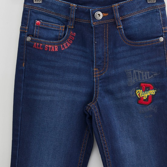 Full Length Printed Jeans with Pocket Detail and Embroidered Applique