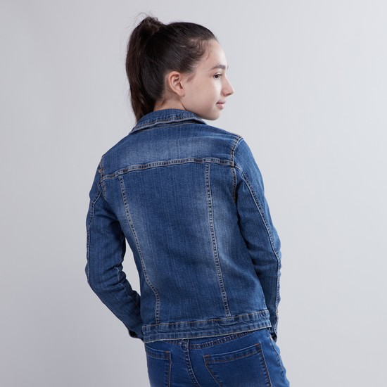 Denim Jacket with Long Sleeves and Flap Pockets