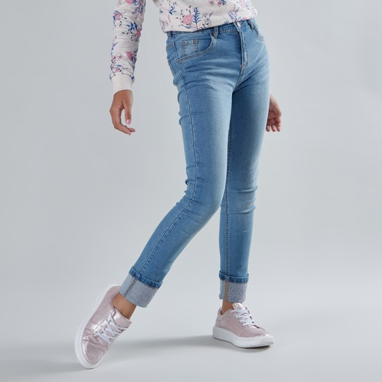 Embellished Full Length Jeans with Pockets
