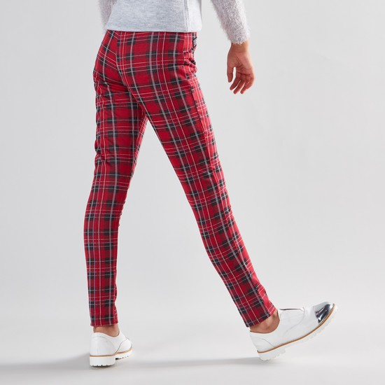 Full Length Checked Jeggings with Elasticated Waistband