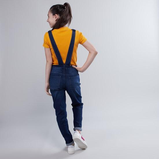 Denim Dungarees with Pocket Detail and Adjustable Straps