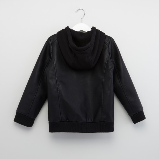 Textured Hooded Jacket with Slip Pockets