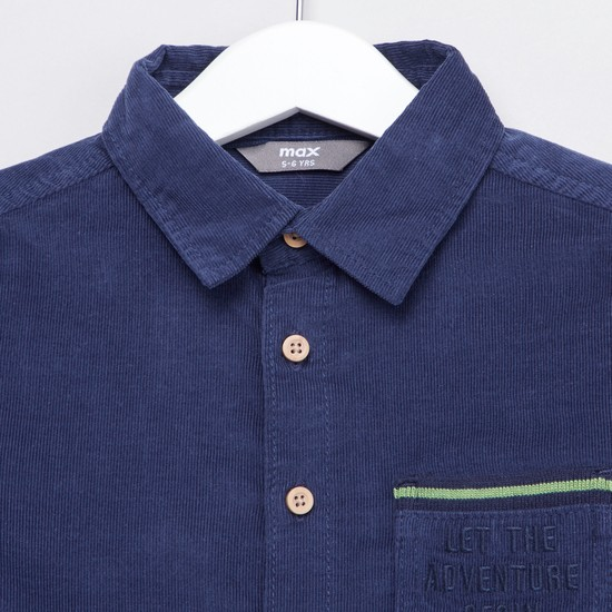 Textured Shirt with Collar and Roll-up Sleeves