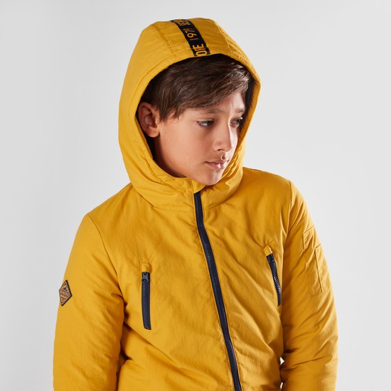 Hooded Zip-Front Melton Jacket with Long Sleeves