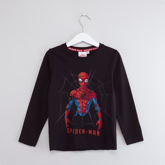 Spiderman Printed T-shirt with Round Neck and Long Sleeves