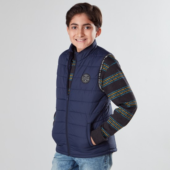 Textured Gilet Jacket with Printed Hem and Pockets